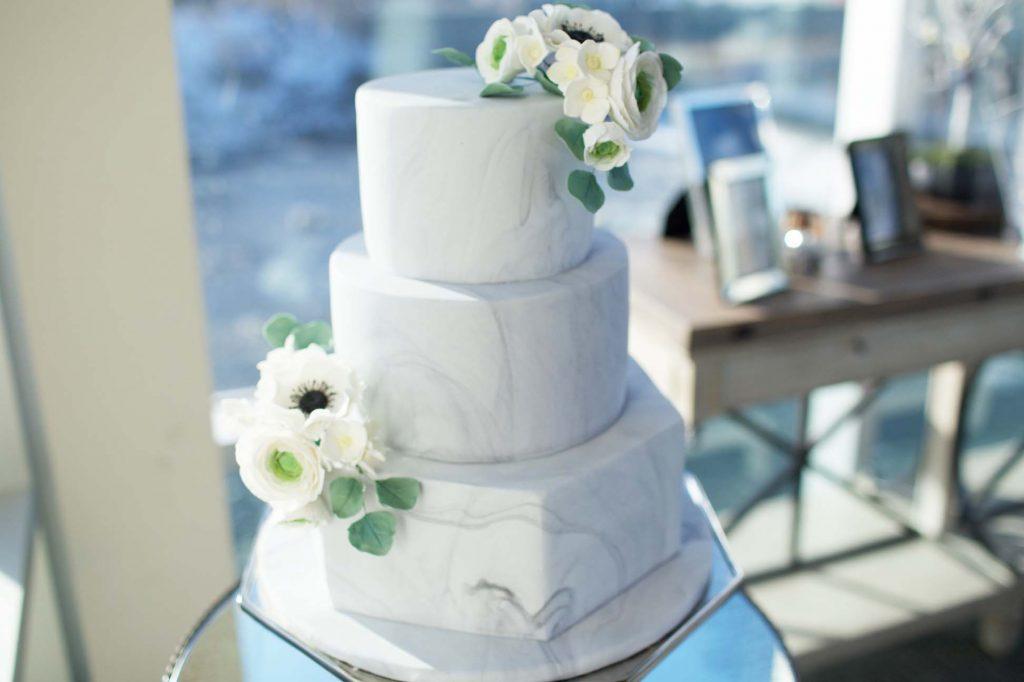 Wedding cake with smooth marble finish
